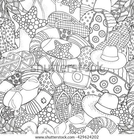 Seamless Pattern With Hand Drawn Set Of Summer Doodles Elements Starfish Lifebuoy Sunglasses