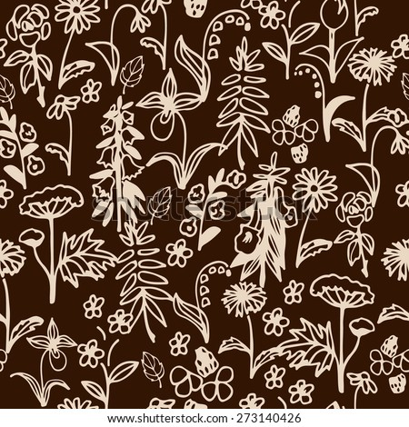 Seamless pattern with hand drawn simple flowers on brown background. Vector illustration. - stock vector