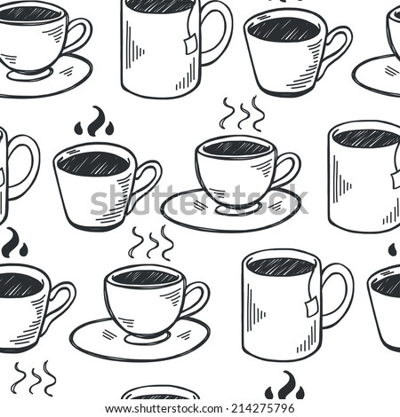 Seamless pattern with hand drawn sketchy tea and coffee cups. Coffee break  tiling background. - stock vector