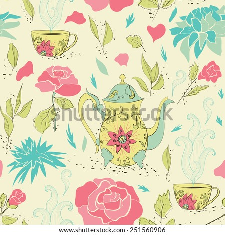 Seamless pattern with hand drawn tea mug and teapot with floral pattern surrounded by flowers and tea leaves. Vector illustration - stock vector