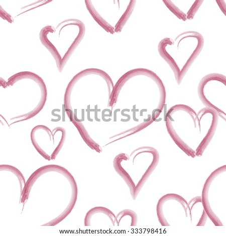 Seamless pattern with hand drawn textured hearts