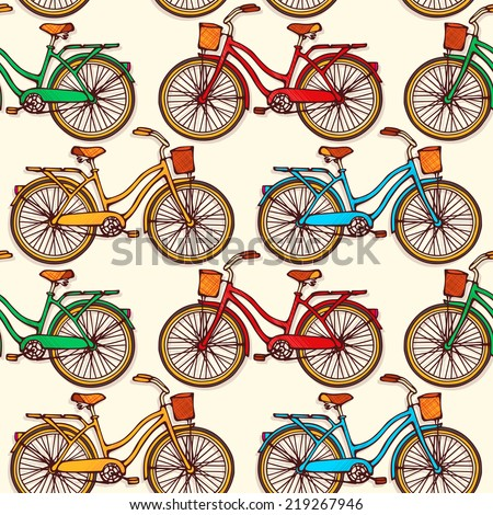 Seamless pattern with hand drawn vintage bicycles. Vector illustration - stock vector