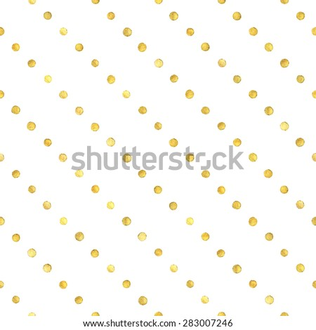 Seamless pattern with hand painted gold dots.