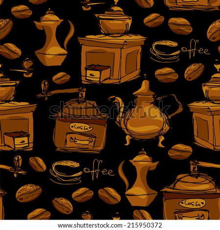 Seamless pattern with handdrawn coffee cups, beans, grinder, coffee pot, calligraphic text COFFEE. Background design for cafe or restaurant menu. - stock vector
