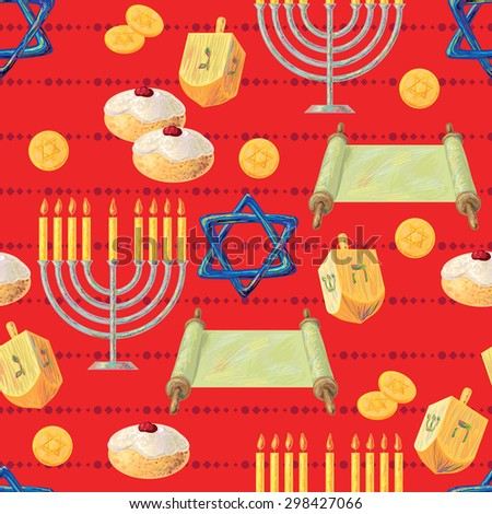 Seamless pattern with Hanukkah menorah with candles and dreidels, vector background. Perfect for wallpapers, pattern fills, web page backgrounds, surface textures, textile - stock vector