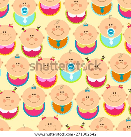 Seamless pattern with happy babys - stock vector