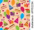 Seamless pattern with Happy birthday motives - stock vector