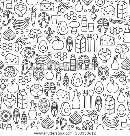 seamless pattern with healthy food icons