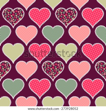 Seamless pattern with hearts. - stock vector