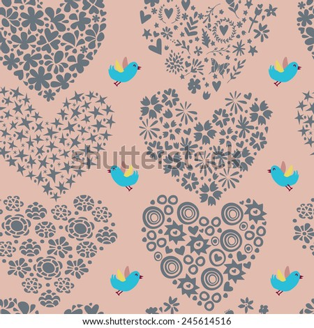 Seamless pattern with hearts and flowers. Vector illustration. - stock vector