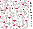 Seamless pattern with hearts and keys - stock vector