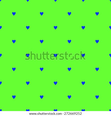 Seamless pattern with hearts hand-drawn style polka dot blue on a bright green background fluorescent - stock vector