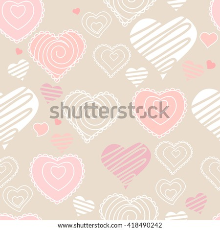 Seamless pattern with hearts. Pastel soft colors. Endless texture for romantic and wedding design