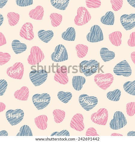 Seamless pattern with hearts, Valentine Day background. Abstract pink heart texture, endless Valentine Day background. Repeating ornament. Pastel colored backdrop. Holiday template. Pink blue colors. - stock vector