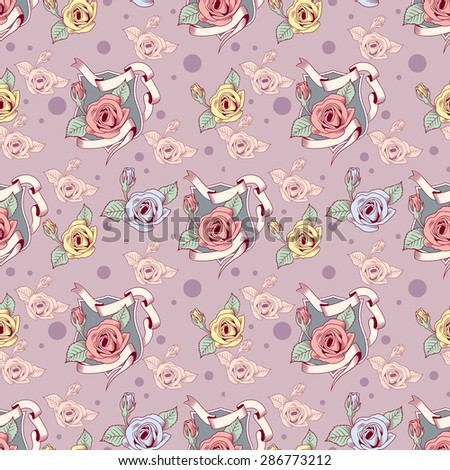 Seamless pattern with heraldic roses  - stock vector