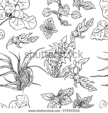 Seamless pattern with herbs pen and ink - stock vector
