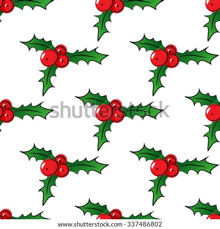 Seamless pattern with holly berries - stock vector