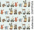 Seamless pattern with Illustrated group of comical animals and inhabitants of the farm. VECTOR format - stock vector