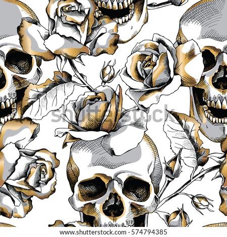 seamless pattern image gold skull rose stock vector 574794385 shutterstock. Black Bedroom Furniture Sets. Home Design Ideas
