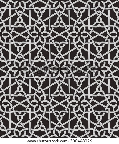 Seamless pattern with intersecting stripes, poly lines, polygons. Abstract ornament in Arabic style. Arabesque. - stock vector