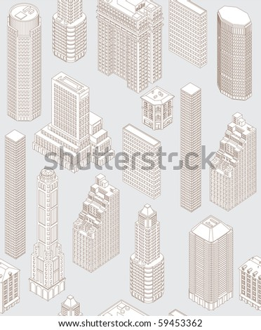 Seamless pattern with isometric buildings (Non-expanded strokes) - stock vector