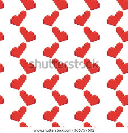 Seamless pattern with isometric heart. Plastic building blocks and tiles in isometric projection. Vector illustration with building kit and heart - stock vector