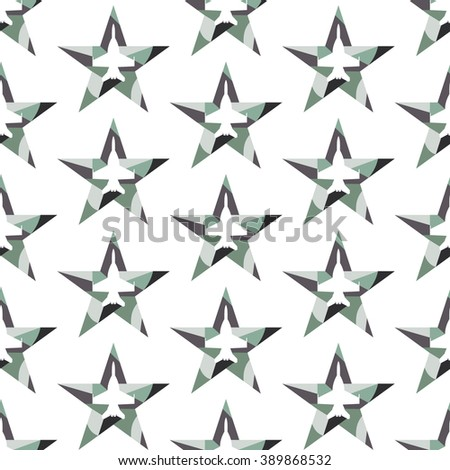 Seamless pattern with jet fighter silhouette inside the star. Modern vector background. Dark khaki colors. - stock vector