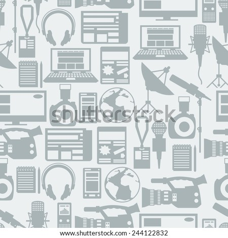 Seamless pattern with journalism icons. Mass media and press conference concept symbols in flat style. - stock vector