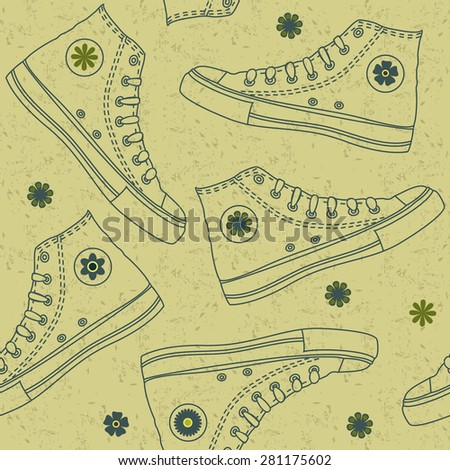 seamless pattern with ked shoes on shabby background - stock vector