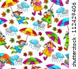 seamless pattern with kids holding umbrellas (JPEG available in my gallery) - stock vector
