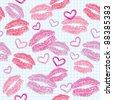 seamless pattern with kisses and hearts on realistic paper - stock vector