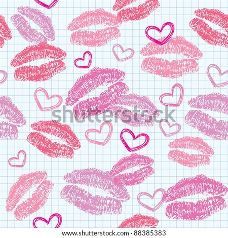 seamless pattern with kisses and hearts on realistic paper