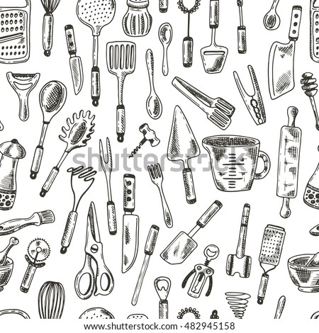 Seamless Pattern With Kitchen Supplies. Hand Drawn Vector Illustration.  Peeler, Grater, Spoon