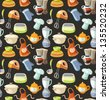Seamless pattern with kitchen tools and cooking icons. - stock vector