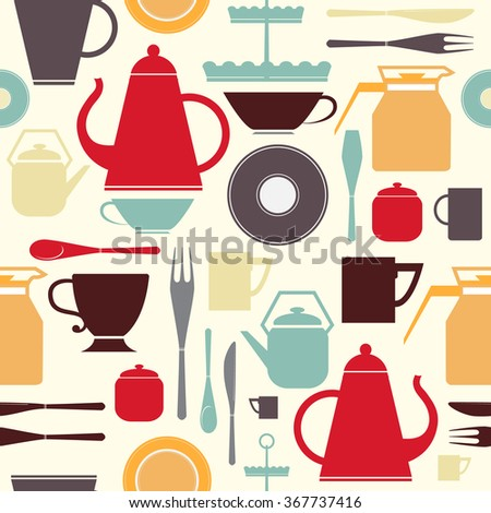 Seamless pattern with kitchen utensil for tea and coffee