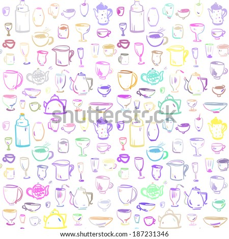 Seamless pattern with kitchen utensils. Cups, pots. Doodle set.  - stock vector