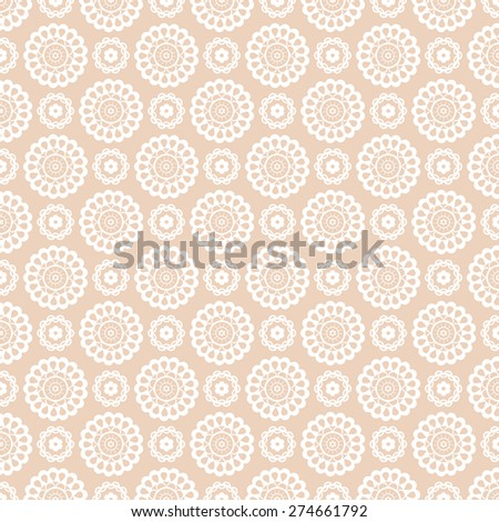 Seamless pattern with lace elements. Delicate background in pale beige and white colors. Vector illustration. - stock vector