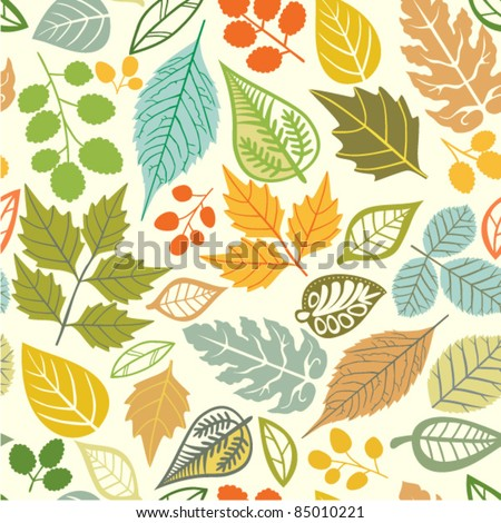 Seamless pattern with leaf, abstract leaf texture, endless background.Seamless pattern can be used for wallpaper, pattern fills, web page background, surface textures. - stock vector
