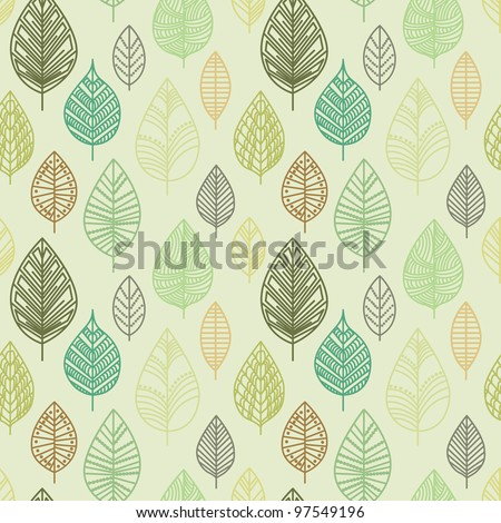 Seamless pattern with leafs. - stock vector