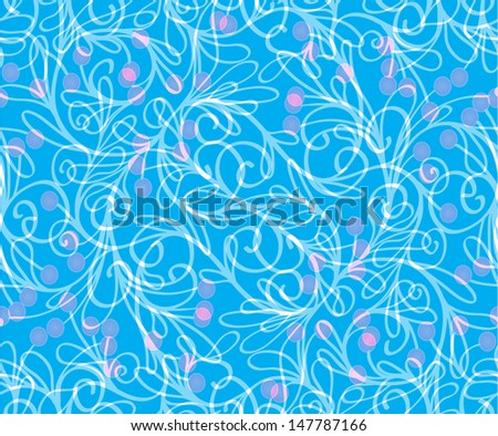 seamless pattern with leaves, branches, stems and berries in  blue colors - stock vector