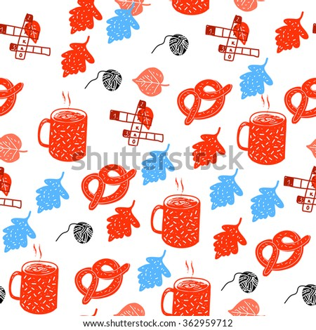 Seamless pattern with leaves, drink and pretzels. Vector illustration. - stock vector
