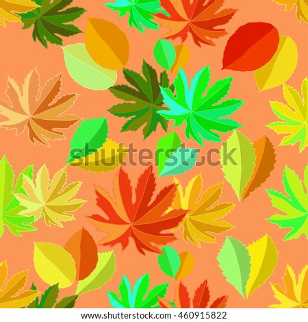 seamless pattern with leaves on an orange background vector illustration