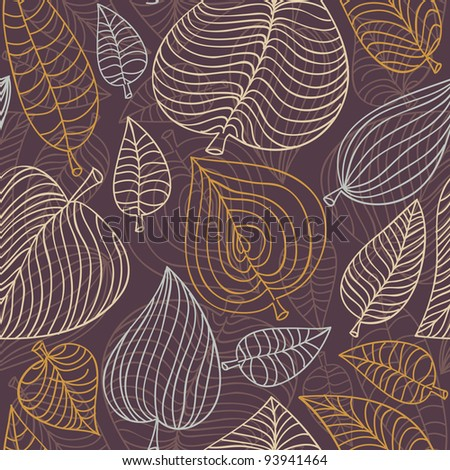 seamless pattern with leaves - vector illustration