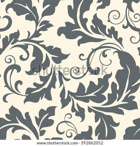 Seamless pattern with leaves. Vintage floral background  - stock vector