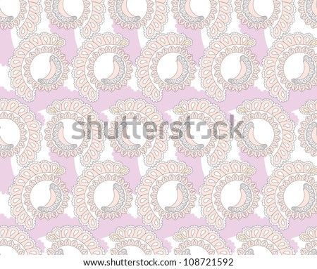 seamless pattern with lilac lacy ornament on white background - stock vector