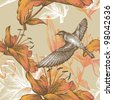 Seamless pattern with lilies and a flying bird, hand-drawing. Vector. - stock