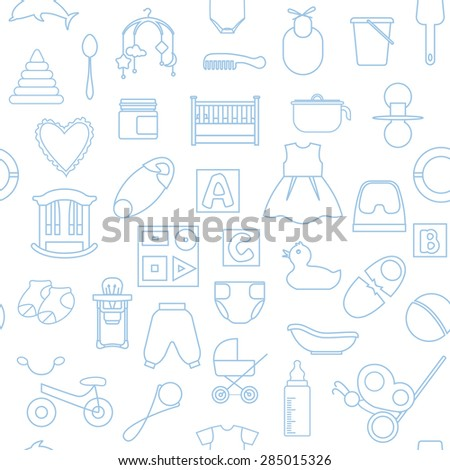 Seamless pattern with linear icons of baby's items on white background. - stock vector