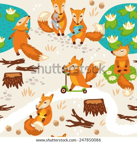 Seamless pattern with little cute foxes. Cartoon background. Vector illustration - stock vector