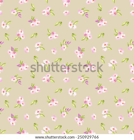 Seamless Pattern with little pink flowers - stock vector