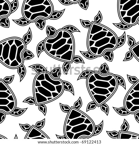 Seamless pattern with little turtles - stock vector